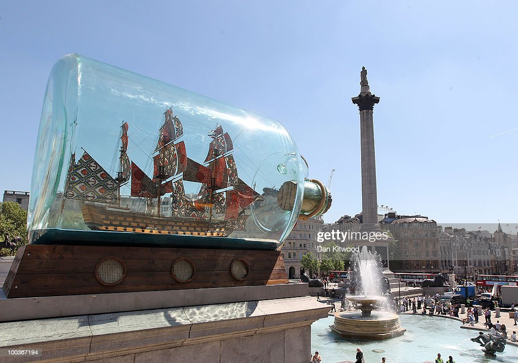A sculpture by artist Yinka Shonibare, 'Nelson's ship in a bottle' is installed on the fourth plinth in Trafalgar Square on May 24, 2010 in London, England. The piece consists of a scale replica of Vice Admiral Lord Nelson's ship HMS Victory in a giant glass bottle and commemorates the Battle of Trafalgar.