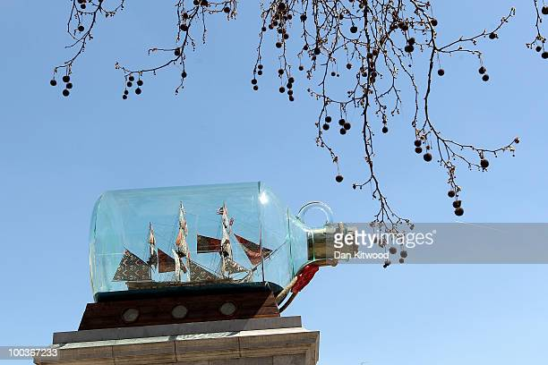 A sculpture by artist Yinka Shonibare 'Nelson's Ship in a Bottle' is installed on the fourth plinth in Trafalgar Square on May 24 2010 in London...