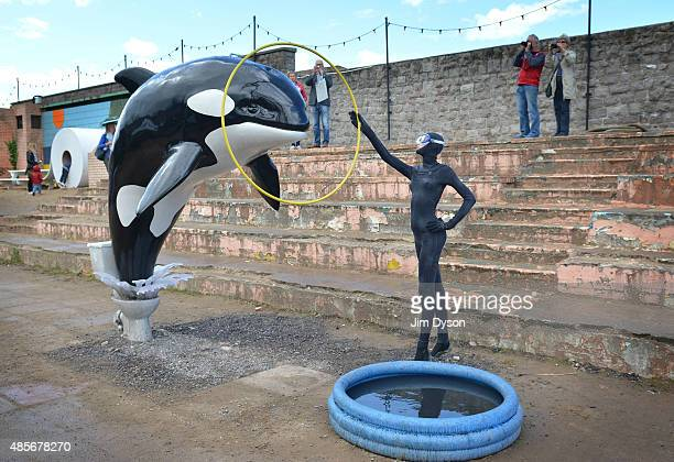 A sculpture by Banksy depicting a killer whale jumping out of a toilet and into a paddling pool as Banksy's Dismaland Bemusement Park opens to the...