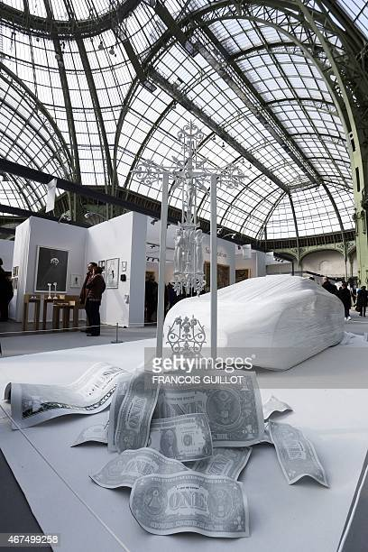 A sculpture by Karl Lagasse entitled 'A piece of heaven on earth' is on display at the Art Paris Art Fair at the Grand Palais on March 25 2015 From...