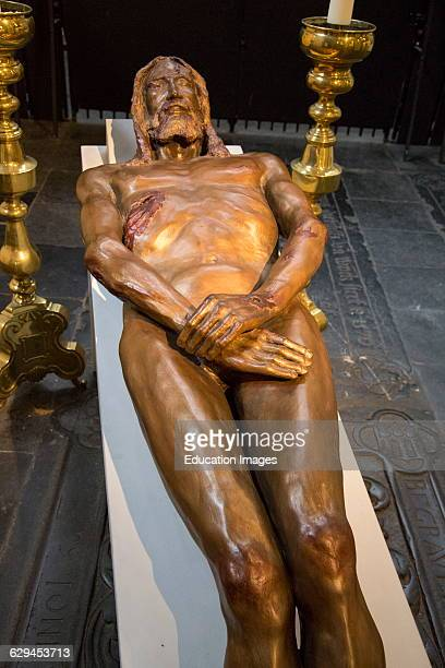 Sculpture by Luigi Mattei of Jesus Christ based on the Turin shroud Saint John cathedral church 'sHertogenbosch Den Bosch North Brabant province...