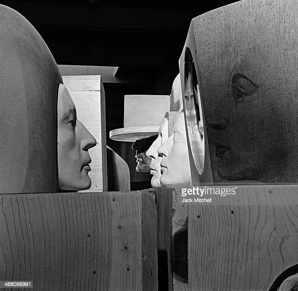 Sculpture by Marisol photographed in her New York City studio in 1968.