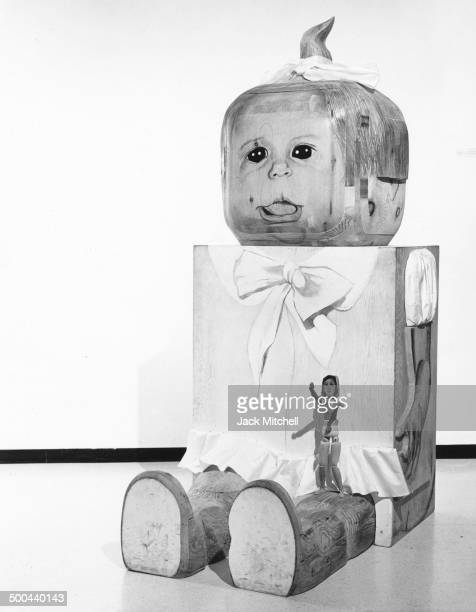 Sculpture by Marisol photographed in New York City in 1967.