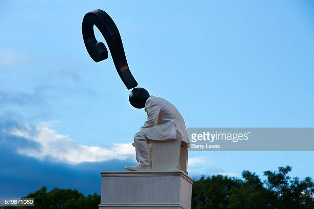Sculpture by the artist Hugo Farmer greets arrivals to the Shangri La field Glastonbury Festival United Kingdom Glastonbury Festival is the largest...