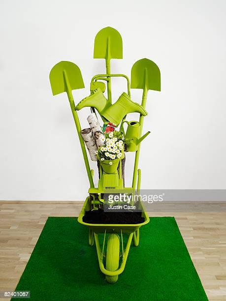 Sculpture constructed from gardening equipment