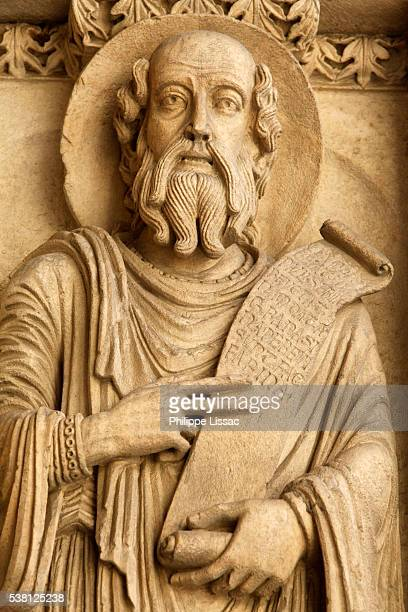 Sculpture depicting St. Paul on the facade of Saint-Trophime cathedral, Arles, Provence