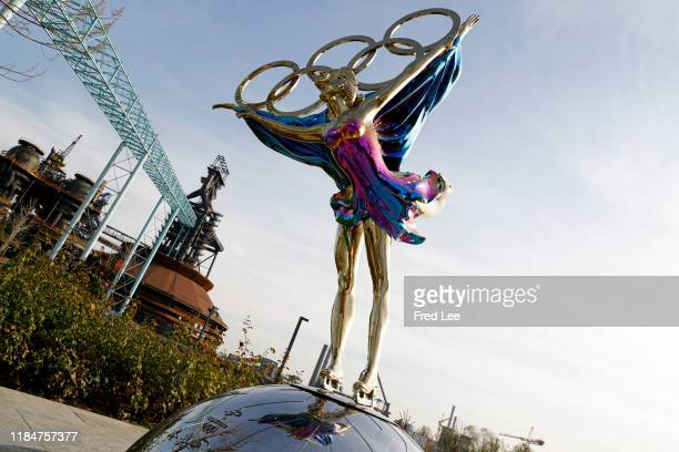 Sculpture depicts Olympic figure skaters for the 2022 Beijing Winter Olympics at Shougang Industrial Park on November 26, 2019 in Beijing, China.