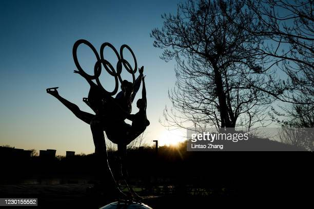Sculpture depicts Olympic figure skaters for the 2022 Beijing Winter Olympics at Shougang Park on December 16, 2020 in Beijing, China. The organizing...