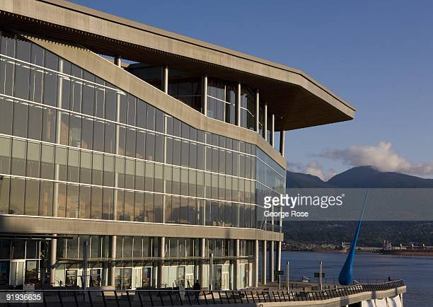 A sculpture entitled The Drop by artist Inges Idee stands at the edge of the new Convention Centre as seen in this 2009 Vancouver British Columbia...