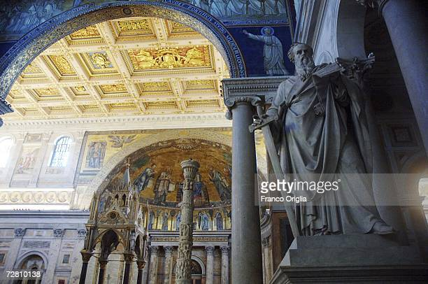 A sculpture featuring St Paul is displayed at the Basilica of St Paul OutsidetheWalls on December 12 2006 in Rome Italy Archaeologists working for...