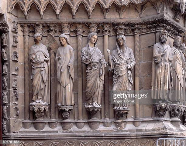 Sculpture from the central door of Reims Cathedral dedicated to the Virgin shows scenes from the Annunciation. Annunciation to the Virgin Mary and...