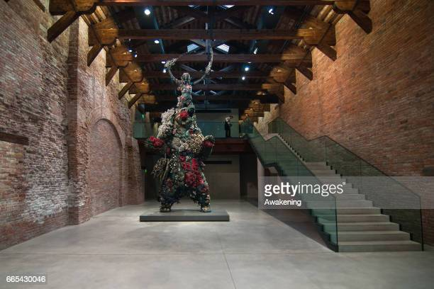 Sculpture from the Damien Hirst's exhibition 'Treasures From The Wreck Of The Unbelievable' is seen at Punta della Dogana on April 6, 2017 in Venice,...