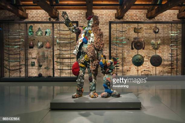 A sculpture from the Damien Hirst's exhibition 'Treasures From The Wreck Of The Unbelievable' is seen at Punta della Dogana on April 6 2017 in Venice...