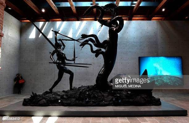 A sculpture Hydra and Kali is seen during the press presentation of the exhibition Treasures from the Wreck of the Unbelievable by British artist...