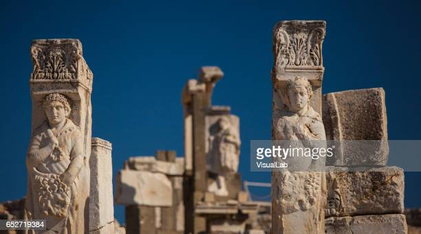 sculpture in ephesus - ancient civilization stock photos and pictures