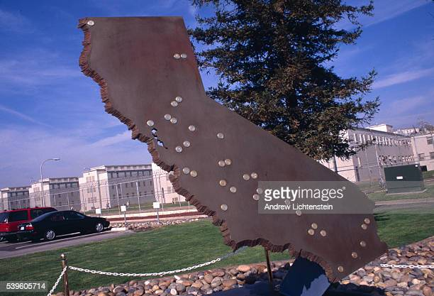 A sculpture in front of the Dual Vocational Institute a California state prison displays all the prisons run by the California Department of...