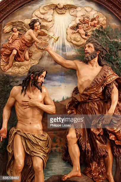 sculpture in the hermitage of the virgin of el rocio : jesus 's baptism - baptism stock pictures, royalty-free photos & images