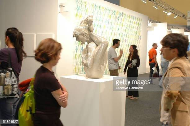 A sculpture is displayed at the Art Basel International Art Show at The Miami Beach Convention Center on December 3 2004 in Miami Beach Florida