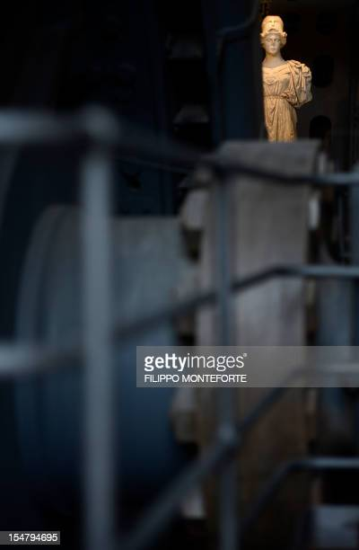 A sculpture is displayed in the Centrale Montenartini museum on October 26 2012 in Rome The museum shows hundreds of sculptures as a permanent...