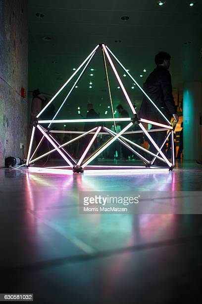 LED sculpture is placed in the hall of the 33rd Chaos Communication Congress on its opening day on December 27 2016 in Hamburg Germany The annual...