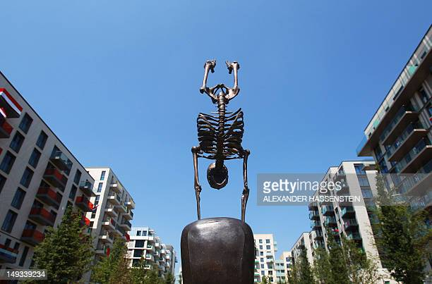 Sculpture is seen in the Olympic Village ahead of the London 2012 Olympic Games at the Olympic Park on July 26, 2012 in London, England. AFP PHOTO /...