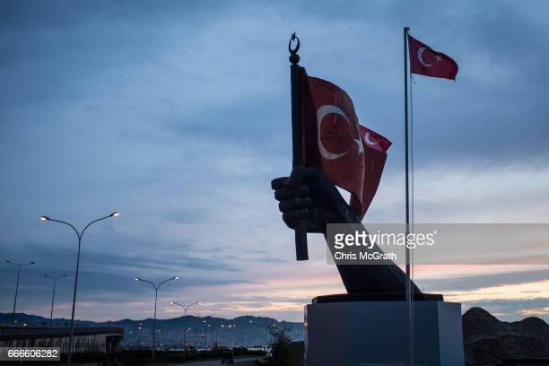 A sculpture is seen on the edge of the black sea on April 9 2017 outside Rize Turkey Campaigning by both the 'Evet' and 'Hayir' camps has intensified...