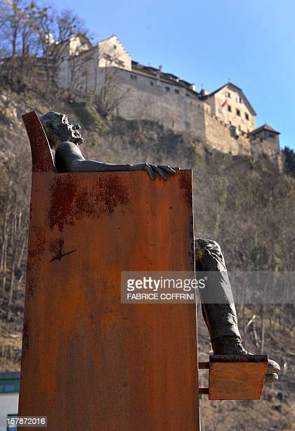 Sculpture is seen under the Castel of Vaduz, home of the Liechtenstein princely family on February 19, 2008 at the Liechtenstein's capital Vaduz. AFP...