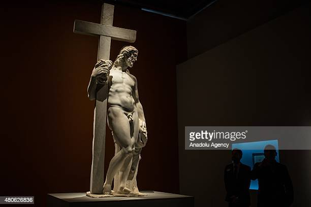A sculpture made by Michelangelo Buonarroti is seen during the media tour for an exhibition in Mexico City Mexico on July 13 2015 The Palacio de...