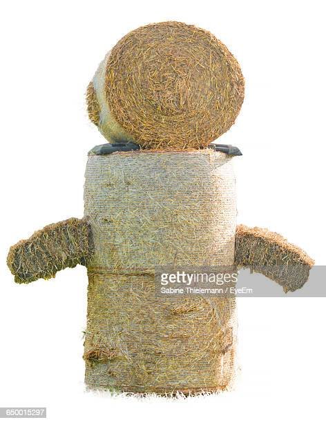Sculpture Made From Hay Bales Against White Background