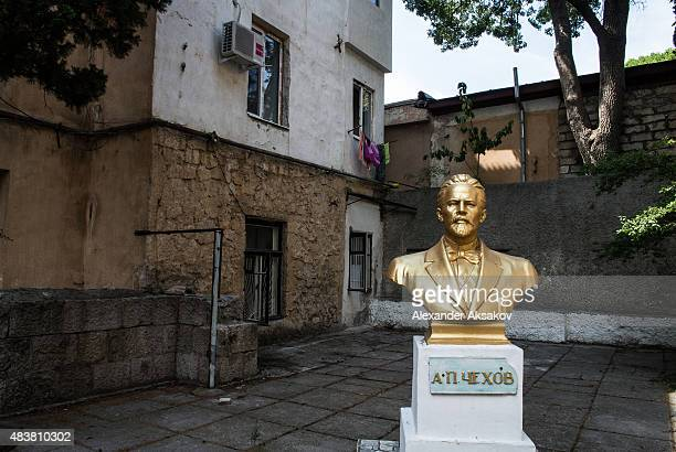 A sculpture of a famous Russian writer Anton Chekhov seen on August 11 2015 in Yalta Crimea Russian President Vladimir Putin signed a bill in March...