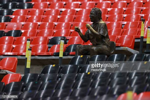 Sculpture of a fan is seen during the 10th round match between America and Cruz Azul as part of the Torneo Clausura 2020 Liga MX at Azteca Stadium on...