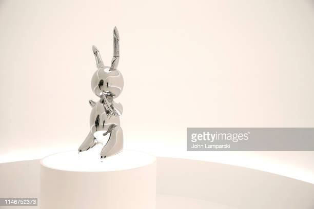 A sculpture of a Rabbit by Jeff Koons is displayed during the unveiling of highlights from 20th Century Week at Christie's on May 03 2019 in New York...