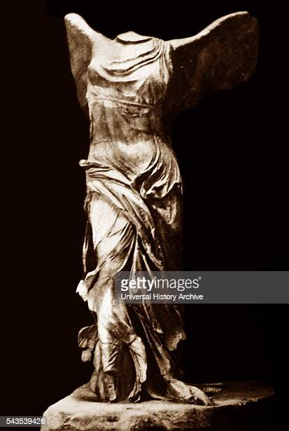 Sculpture of a Winged Victory of Samothrace a 2ndcentury BC marble sculpture of the Greek goddess Nike Dated 2nd Century BC