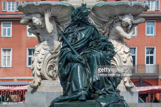sculpture of alma mater with the symbols of science at the pauli fountain from 1889, erlangen, middle franconia, bavaria, germany - erlangen stock photos and pictures