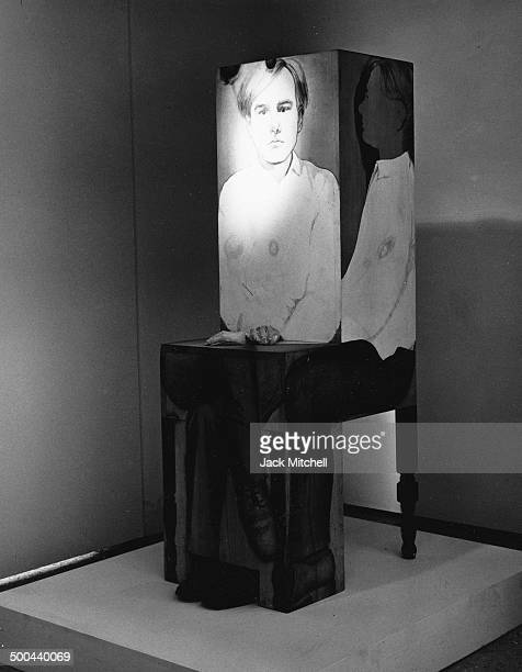 Sculpture of Andy Warhol by Marisol photographed in New York City in 1967.