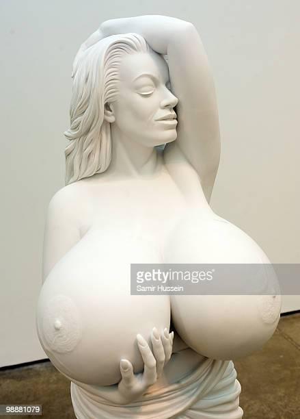 A sculpture of Chelsea Charms by artist Marc Quinn is seen at his new exhibition 'Marc Quinn Allanah Buck Catman Michael Pamela Thomas' examining...