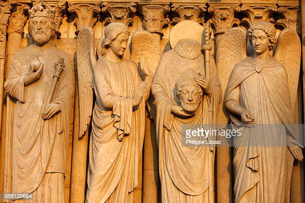 Sculpture of Emperor Constantine, Saint Denis and Angels at Notre Dame Cathedral
