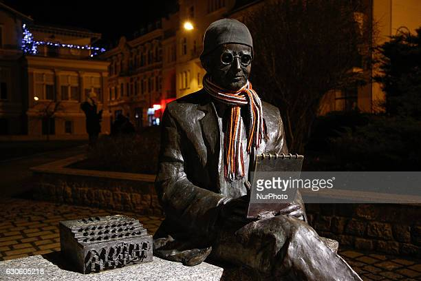 A sculpture of famous Enigma code breaker Marian Rejewski is seen dressed with a hat and scarf inside the old city Bydgoszcz Poland on December 27...