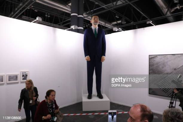 Sculpture of Felipe VI by artist Santiago Sierra valued at 200000 euros seen during the exhibition The 38th edition of the contemporary art fair is...