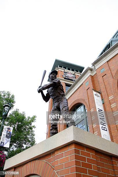 Sculpture of former Milwaukee Brewers baseball player Hank Aaron, sits outside Miller Park, in Milwaukee, Wisconsin on JUNE 16, 2012.