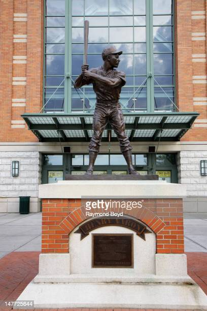 A sculpture of former Milwaukee Brewers baseball player Hank Aaron sits outside Miller Park in Milwaukee Wisconsin on JUNE 16 2012