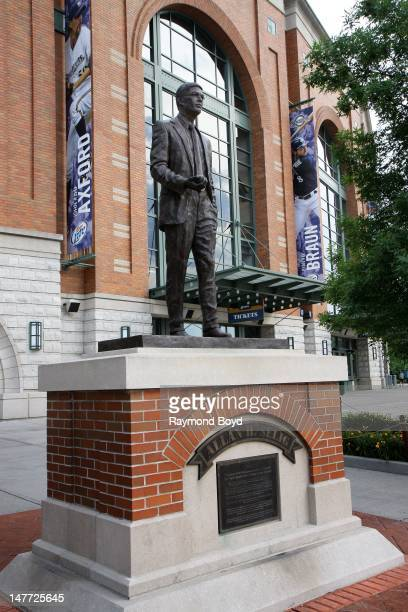 """Sculpture of former Milwaukee Brewers team owner and commissioner of major league baseball Allan """"Bud"""" Selig, sits outside Miller Park, in Milwaukee,..."""