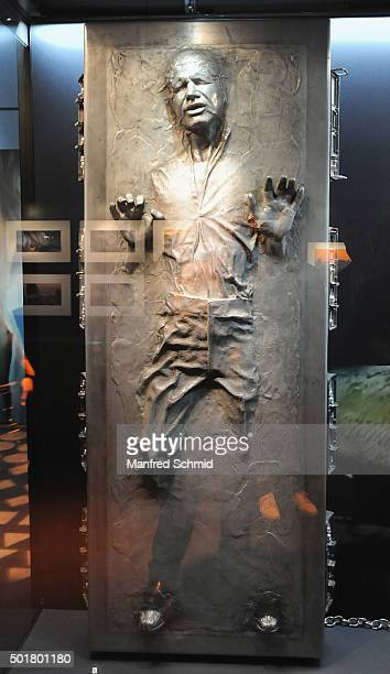 A sculpture of Han Solo from the film 'Star Wars' is on display in the 'STAR WARS Identities' exhibition opening party at MAK on December 17 2015 in...
