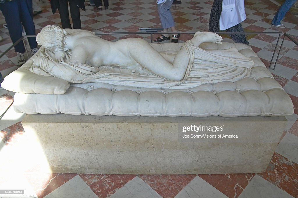 Sculpture of Hermaphrodite at the Louvre Museum, Paris, France : News Photo