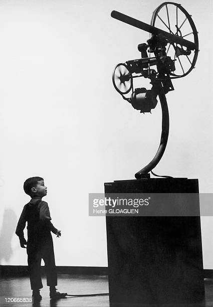 Sculpture of Jean Tinguely, Movement of the new realism in New York, United States in 1965 - Sculpture of the artist exposed at Jewish Museum of New...