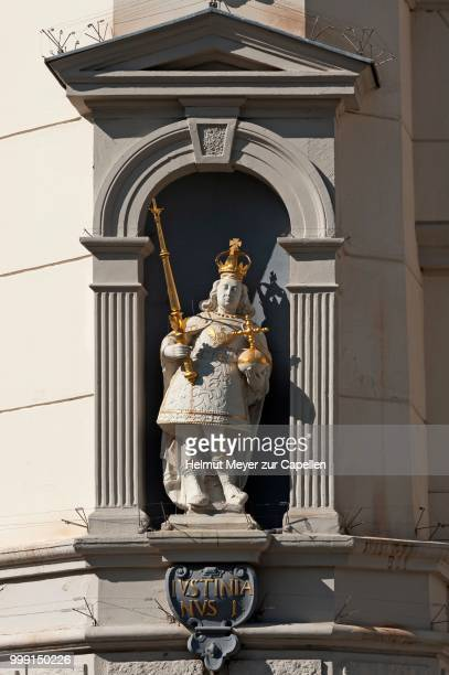 sculpture of justinian i. on the baroque town hall, lueneburg, lower saxony, germany - justinian i stock pictures, royalty-free photos & images