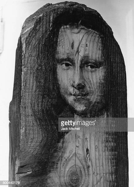Sculpture of Mona Lisa by Marisol photographed in New York City in 1967.