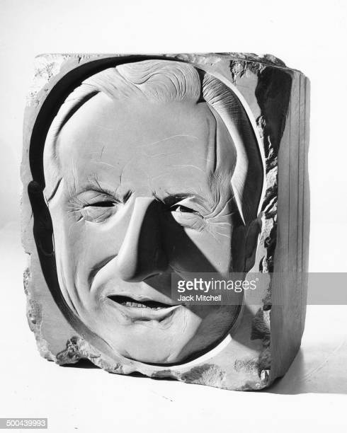Sculpture of Nelson Rockefeller by Marisol photographed in New York City in 1967.