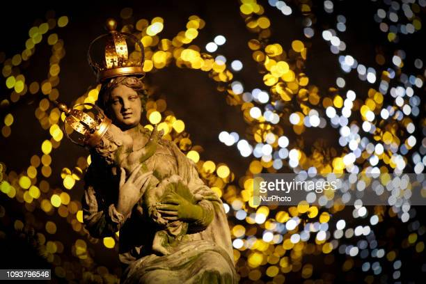 A sculpture of Our Lady of Passau is seen in central Warsaw Poland on February 3 2019