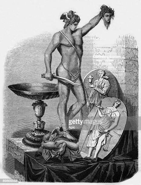 Sculpture of Perseus and other works by Benvenuto Cellini engraving